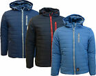Mens Winter Jacket Crosshatch Coat Padded Hooded Quilted Puffer Lined Zip