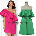 dp223 Celebrity Fashion Ruffled Off Shoulder Mini Party Dress (With Belt)