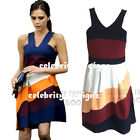 dp209 Celebrity Fashion Victoria Color-Blocking Sleeveless Halter Skater Dress