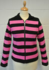SALE! NEW WOMENS RETRO KNITTED STRIPE ZIP UP CARDIGAN (PINK/BLACK) large -h170