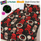 Glow In The Dark SKULL Quilt Doona Duvet Cover Set - SINGLE DOUBLE QUEEN