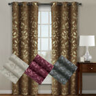 Claire Pair ( Set of 2 ) Micro Suede Jacquard Blackout Curtain Panels