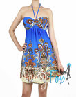Sexy Halter Style Blue Paisley Summer Party Dress S-XL