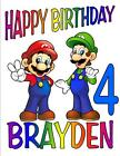 MARIO BROTHERS BIRTHDAY T-SHIRT Personalized Any Name/Age Toddler to Adult