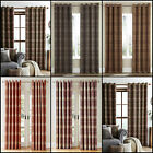 PAIR LUXURY HIGHLAND CHECK LINED RING TOP CURTAINS WITH BRUSHED FAUX WOOL EFFECT