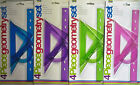 4 Piece Geometry Set (Ruler, Protractor. 2 x Set Squares) 4 Colours Free Postage