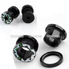 "Pair Green Leopard 6g-1/2"" Acrylic Ear Tunnels Plugs Expander Piercing Gauges"