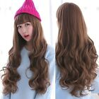 Womens Long Curly Wavy Brown/Black Hair Neat Bang Style Full Wig Cosplay Costume