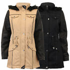 NEW WOMAN'S LADIES BRAVE SOUL QUILTED FUR HOODED PVC SHERPA FISH TAIL JACKET