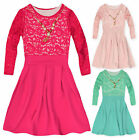 Girls Long Sleeved Lace Top Waffle Skirt Dress New Kids Party Dresses 2-10 Years