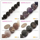 Natural Round Frost Geode Agate Gemstone Jewelry Making Beads Strand15' SD8245-V