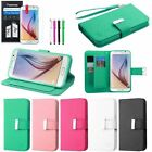For Samsung Galaxy S6 Leather Credit Card Wallet Flip Stand Cover Case+Film+Pen