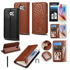 Genuine Leather Wallet Card Slot Flip Case Cover+Film+Pen For Samsung Galaxy S6