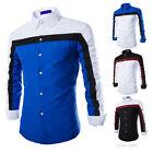 Men's Sexy Button-Down Long Sleeve Casual Dress Shirt Slim Contrast Color Shirts