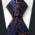 "Mens Necktie Tie Paisley Navy Orange Q8 Silk Extra Long Size 63"" Jacquard Woven"