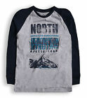 Boys Arctic Print Baseball Top New Kids Long Sleeved Cotton Top Ages 2-7 Years