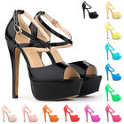 Womens Platform High Heels Peep Toe Corset Sandals Court Patent Shoes Size 5-11