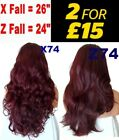 DARK RED Long Curly Layered Half Wig Hair Piece Ladies 3/4 Wig Fall Clip in