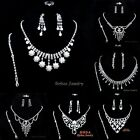 Hot Wedding Women Rhinestone Pearls Necklace Earrings Bracelet Ring Jewelry Set