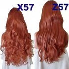 RED GOLDEN GINGER Long Curly Layers Half Wig Hair Piece Ladies 3/4 Wig Fall #130