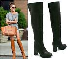 WOMENS OVER THE KNEE HIGH BOOT LADIES HIGH BLOCK HEEL LEATHER STYLE LONG BOOTS S
