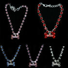 Bling Rhinestone Pet Cat Dog Puppy Crystal Collar Neck Adjustable Bone Necklace