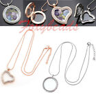 Womens Charms Glass Round / Heart Locket Pendant Necklace Jewelry Fashion Gift
