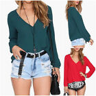 UK Women Girls Loose Chiffon V-Neck T Shirt Long Sleeve Tops Casual Blouses