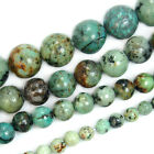 "Natural Blue African Turquoise Round Gemstone Beads 15.5"" 4 6 8 10 12mm Pick"