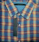 PERRY ELLIS Blue & Yellow Plaid Linen Mens Casual Shirt NWT* F454 Ret $75 Box 38