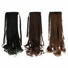 Women Clip In Ribbon Ponytail Pony Tail Wavy Style Hair Wrap On Piece Wig 18""