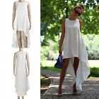 Womens Summer Long Maxi Evening Party Beach Chiffon Dress Sleeveless Round Neck