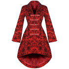 Womens New Red Gothic Steampunk Military Rockabilly Flocked Tattoo Coat