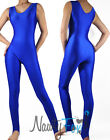 Sexy Retro Blue Aerobic Sleeveless Dance Unitard Bodysuit Holiday Costume S-2X