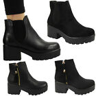 GIRLS WOMENS LADIES BLOCK CHUNKY MID HEEL PLATFORM CHELSEA ANKLE BOOTS SHOES SIZ