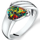 Created Black Opal Eventides Ring Sterling Silver Tear Drop Size 5 to 9