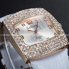 Women Ladies Rose Golden Bling Crystal 5 Colours Leather Wrist Quartz Watch Gift