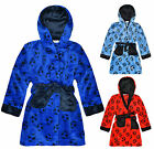 Boys Printed Football Bathrobe New Kids Fleece Dressing Gown Ages 2-13 Years