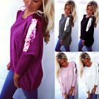 New Fashion Women Sequin Long Sleeve Shirt Casual Lace Blouse Loose Tops T-Shirt