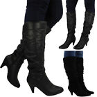 LADIES LOW MID BLOCK CHUNKY HEEL WOMENS KNEE HIGH CALF RIDING BOOTS SHOES SIZE