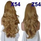 DARK BLONDE Long Curly Layered Half Wig Hair Piece Ladies 3/4 Wig Fall clips #14