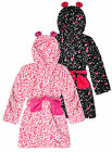 Girls All Over Heart Print Hooded Dressing Gown New Kids Fleece Robe 7-13 Years