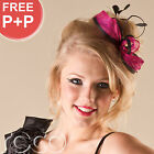 Ladies Black Pink Silver Fascinator Hair Piece Wedding Bridal Hair Accessories