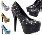 Ladies Stiletto Heel Platform Spikes Studs Court Shoes Women Glitter Boots Pumps