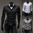 New Fashion Solid Color Mens Casual Long Sleeve Slim Fit Stylish Shirt Top 3640