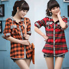 New Womens Korean Style Long Sleeve Casual Plaids & Hodded Shirts Tops Coats