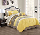 11 Piece Yellow/Taupe/White Bed in a Bag w/600TC Sheet Set