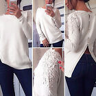 Fashion 2015 Back Button Up Floral Lace Women NEW Jumpers Sweater Knitwear Coat