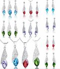 Cubic Zirconia Bead Dangle Teardrop Earrings Necklace Set For Party Wedding Gift