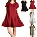 Round Neck Short Sleeve Loose Fit Flowy Flared Tunic Dress Casual Rayon S M L